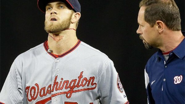 Bryce Harper learns the purpose of the warning track