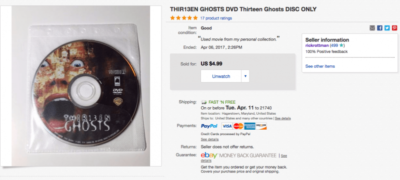 "you can sell ""disc only"" DVDs on eBay"