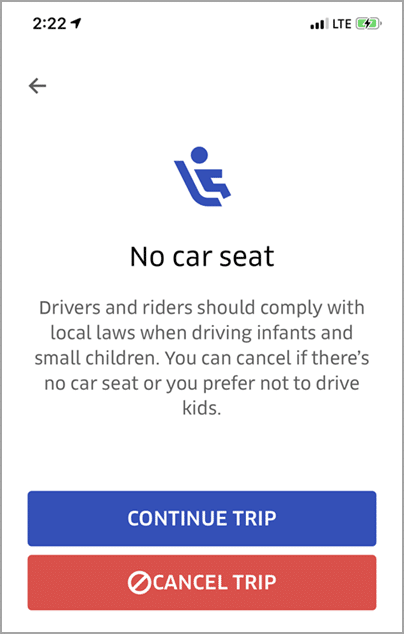 Canceling an Uber trip because the rider does not have a child safety seat - Bent Corner