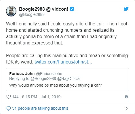 Remember when Boogie2988 was going to 'legit' buy a $100k Tesla?