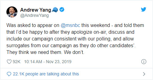 Andrew Yang bends the knee to MSNBC - Bent Corner