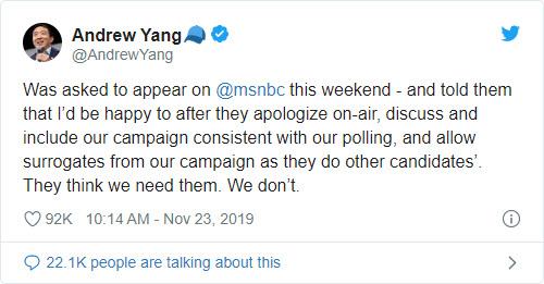 Andrew Yang bends the knee to MSNBC - Bent Corner