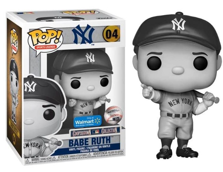Funko Pop! Babe Ruth black and white Walmart exclusive - Bent Corner