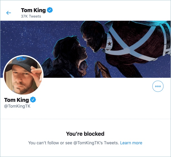 Comic book writer Tom King blocked me on Twitter