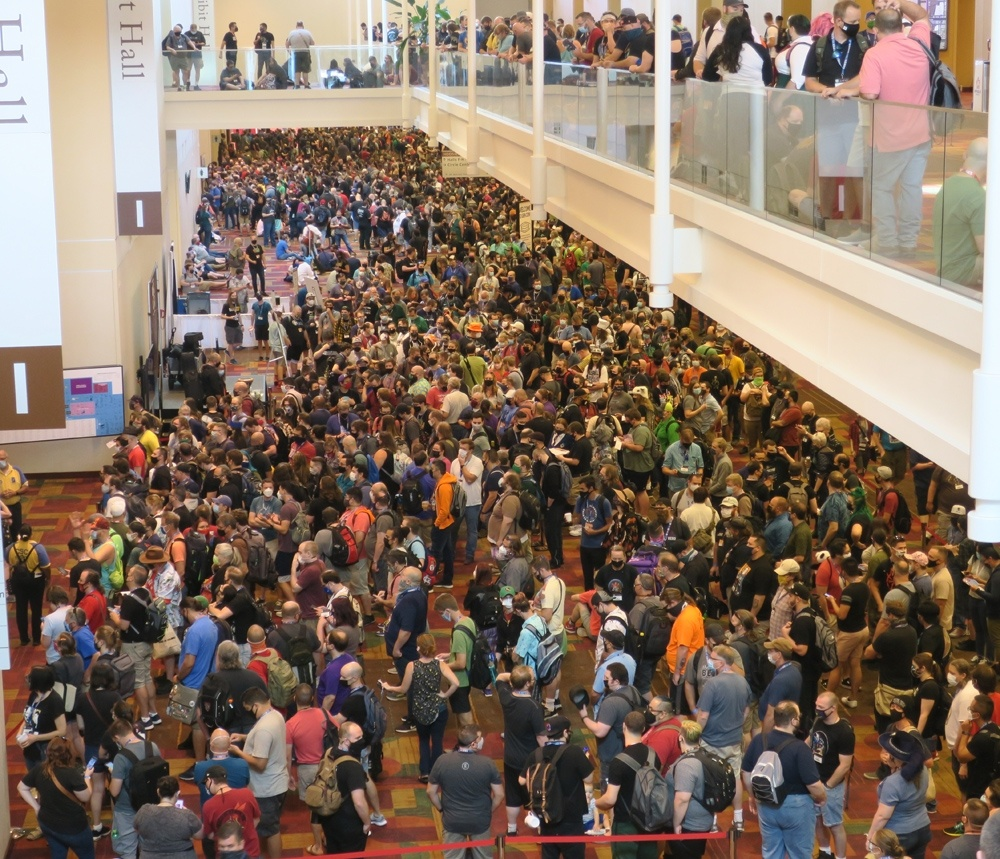 Not a lot of social distancing happening on at the opening of Gen Con 2021 - Bent Corner