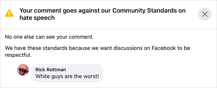 Facebook just accused me of posting hate speech - Bent Corner